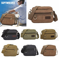 Men Outdoor Canvas Messenger Shoulder Bag Travel Hiking Cycling Crossbody Purse