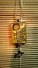"""""""War in not healthy"""" Silver Glass Pendant Necklace w/dove charm"""