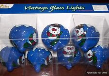 String of 7 Glass SNOWMAN LIGHTS Vintage Style Ornaments New in Box