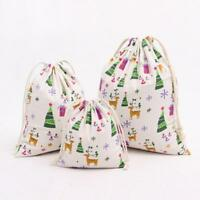 Christmas Gifts Candy Canvas Santa Sack Drawstring Bag Xmas Tree Hanging Decor