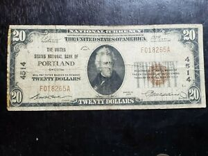 Series of 1929 $20 National Currency US National Bank of Portland, OR Chart 4514