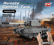 952pcs DIY Stainless Steel Remote Control Tank 10 Channels Military  Vehicle