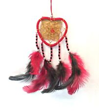 Red Heart Dream Catcher with Red and Black Beads and Feathers - 20cm Length