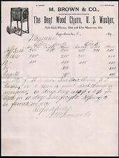 Wapakoneta OH c1890 M Brown & Co Bent Wood Churn U S Washer Machine Letter Head