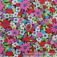BonEful Fabric FQ Cotton Quilt Rainbow Red Pink Green White Flower B&W Leaf Tiny