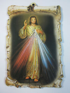 """Divine Mercy Picture on Wood 6""""  Made in Italy"""