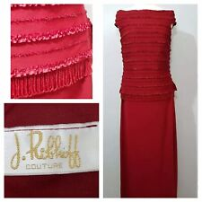 Vintage Joseph Ribkoff Couture Red Long Dress Size UK 12 14 1920's Christmas