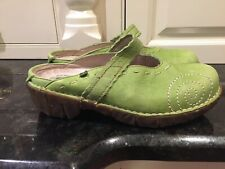 El Natura Lista Green Leather Mules, Size 7. Frog Shock System.NG96 Yggdrasil