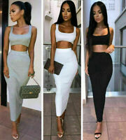 Womens Maxi Skirt Crop Top Party Club Two Piece Dress Ladies Bodycon Co Ord Sets