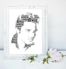 ELVIS WORDART PERSONALISED A4 GIFT BIRTHDAY LEGEND PRESLEY BIRTHDAY KING ROCK