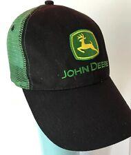 John Deere Advertising Embroidered Logo Mesh Strapback Trucker Hat Green Black