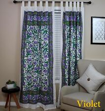 Handmade 100% Cotton French Floral Tab Top Curtain Drape Door Panel Blue Violet