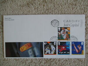 1991 SPORTS GPO FIRST DAY COVER, CARDIFF JUST CAPITAL SLOGAN PMK