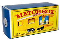 Matchbox Lesney  No 23  TRAILER CARAVAN  YELLOW  Empty Repro Box style E