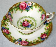 Paragon Fancy Tapestry Rose Fine Bone China Cup & Saucer 1940s