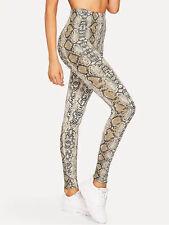 Women's High Waist Snakeskin Printed Yoga Pants Sports Workout Running Leggings