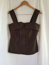 CUE, SIZE 10, BNWT, BROWN, RUFFLE FRONT, CAREER BLOUSE