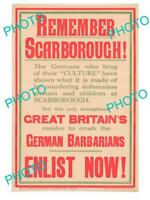 8x6 HISTORIC PHOTO OF WWI ALLIES MILITARY POSTER REMEMBER SCARBOROUGH ENLIST