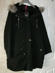 V BY VERY SO FABULOUS BLACK ZIP UP PARKA STYLE COAT FAUX FUR LINING SIZE 24 BNWT