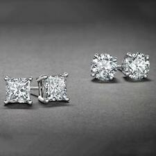 [2-Piece] White Gold Plated Round and Princess Studs Earrings Stud Set CZ Set