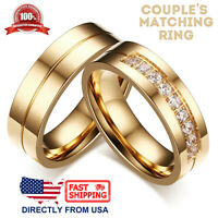 Couple's Matching Ring, His or Hers Gold Color Stainless Steel Wedding Band