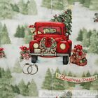 BonEful Fabric FQ Cotton Quilt Xmas Tree Green Red Santa Hat Old Truck Scenic US