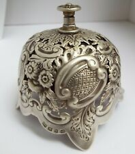STUNNING RARE DECORATIVE ENGLISH ANTIQUE 1897 STERLING SILVER DESK SERVANTS BELL