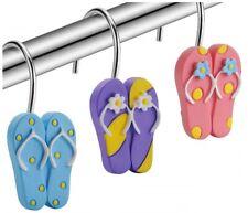 12 Pc Shower Curtain Bathroom Hooks Rings Flip Flops Summer Sandals Pink Purple