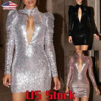 Women Mini Dress Hollow Deep V-Neck Backless Bodycon Sequins Party Cocktail US