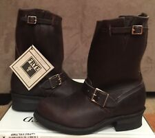 NEW WOMEN FRYE VERONICA ENGINEER 12R SHORT DARK BROWN LEATHER BOOTS SIZE 8.5