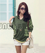 Women fashion Green Batwing Dolman Long sleeve t-shirt Letter Prints top Blouse