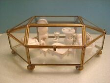 Small Glass & Brass CURIO CABINET for mini Figurines Display For Table Top