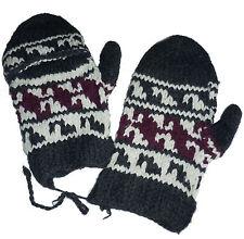 Winter GLITTEN - Grey Handmade Natural Pakistani Wool - Flip Glove Mitten A6