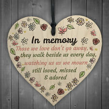 In Memory Wooden Heart Family Memorial Mum Dad Nan Grandad Special Mourn Sign