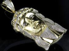 "10K Yellow Gold Jesus Head Piece Genuine Diamond Charm Pendant 3.0ct 3.6"""
