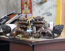 China Old Bronze Copper Palace Evil Guardian Fu Foo Dog Men Lion Statue A Pair