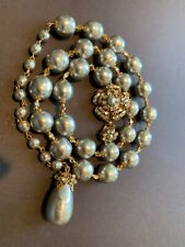 Sign Miriam Haskell Huge Baroque Silver Pearl Rhinestone Flower Necklace Jewelry