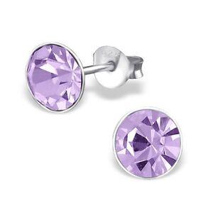 Childrens Girls Sterling Silver Round 7mm Violet Crystal Stud Earrings