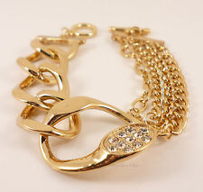 Gold Chunky Elegant Crystal Hoops Chain Statement Costume Jewellery Bracelet