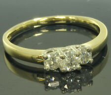 Ladies 14k Yellow Gold 1/2 Cttw Round Diamond Three Stone Engagement Ring