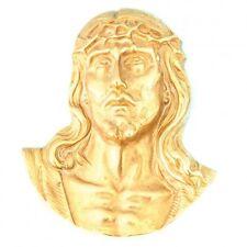 Volto di Crocifisso In ottone lucido Cristo Gesù Chiesa da parete