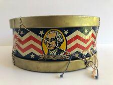 """Vintage July 4Th Patriotic J. Chein Lincoln & Washington 11"""" Metal Drum!"""