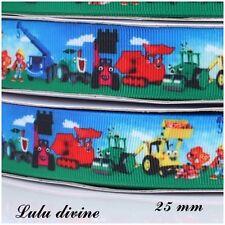 Ruban gros grain fond paysage Bob le bricoleur de 25 mm vendu au mètre