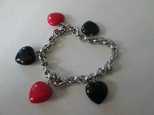 dangle RED & BLACK HEARTs silver BRACELET cute! 7.5 inches