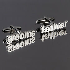 DQT Plated Brass Cuff Links Grooms Father Cut Out Words Wedding Cufflinks