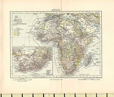 c1880 MAP ~ AFRICA ~ INSET SOUTH AFRICA CAPE COLONY
