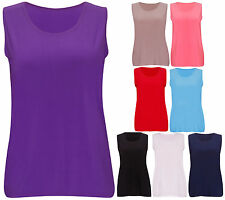 Womens New Plain Soft Stretch Ladies Sleeveless Fit T-Shirt Vest Top Plus Size