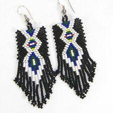 HANDMADE BEADED NATIVE AMERICAN INSPIRED STYLE BLACK SEED BEAD EARRINGS 17/53
