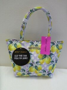 Betsey Johnson Satchel Insulated Lunch Tote Handbag Lavender Lemon TBJ-0464