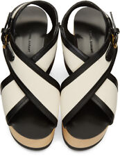 ISABEL MARANT ZLOVA BLACK LEATHER & COTTON PLATFORM WEDGE SANDALS Sz.41 IT /11US